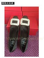 Красивые атласные туфли с квадратным носком с пряжкой  2 цвета, фото 1