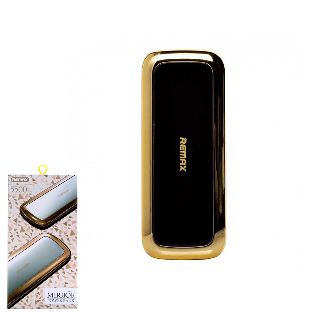 Портативное зарядное устройство (Power Bank) REMAX Power Bank Mirror Series RPP-35 5500 mAh Gold