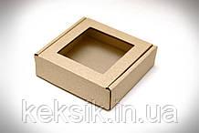 Коробка для конфет с окошком коричневая