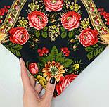 Черные глаза 1194-18, павлопосадский платок шерстяной с шерстяной бахромой, фото 6