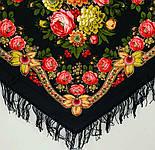 Черные глаза 1194-18, павлопосадский платок шерстяной с шерстяной бахромой, фото 4