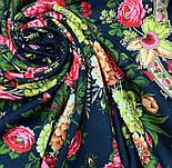 Черные глаза 1194-18, павлопосадский платок шерстяной с шерстяной бахромой, фото 5