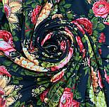 Черные глаза 1194-18, павлопосадский платок шерстяной с шерстяной бахромой, фото 10