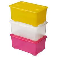 GLIS Pudełko z pokrywką, różowy/biały, żółty 200.474.50