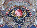 Сон бабочки 1463-12, павлопосадский платок шерстяной с шелковой бахромой, фото 5