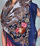 Сон бабочки 1463-12, павлопосадский платок шерстяной с шелковой бахромой, фото 8