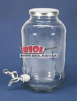 Лимонадница стеклянная 4,25л прозрачная с краником (диспенсер для напитков, емкость с краником)