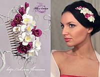 """""""Бело-розовые фрезии"""" свадебный гребень для волос с цветами , фото 1"""