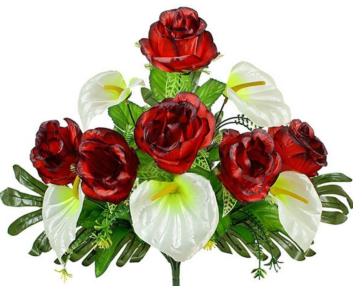 Букет каллы  и розы на папоротнике, 56см (10 шт в уп.)