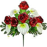 Букет каллы  и розы на папоротнике, 56см (10 шт в уп.), фото 2