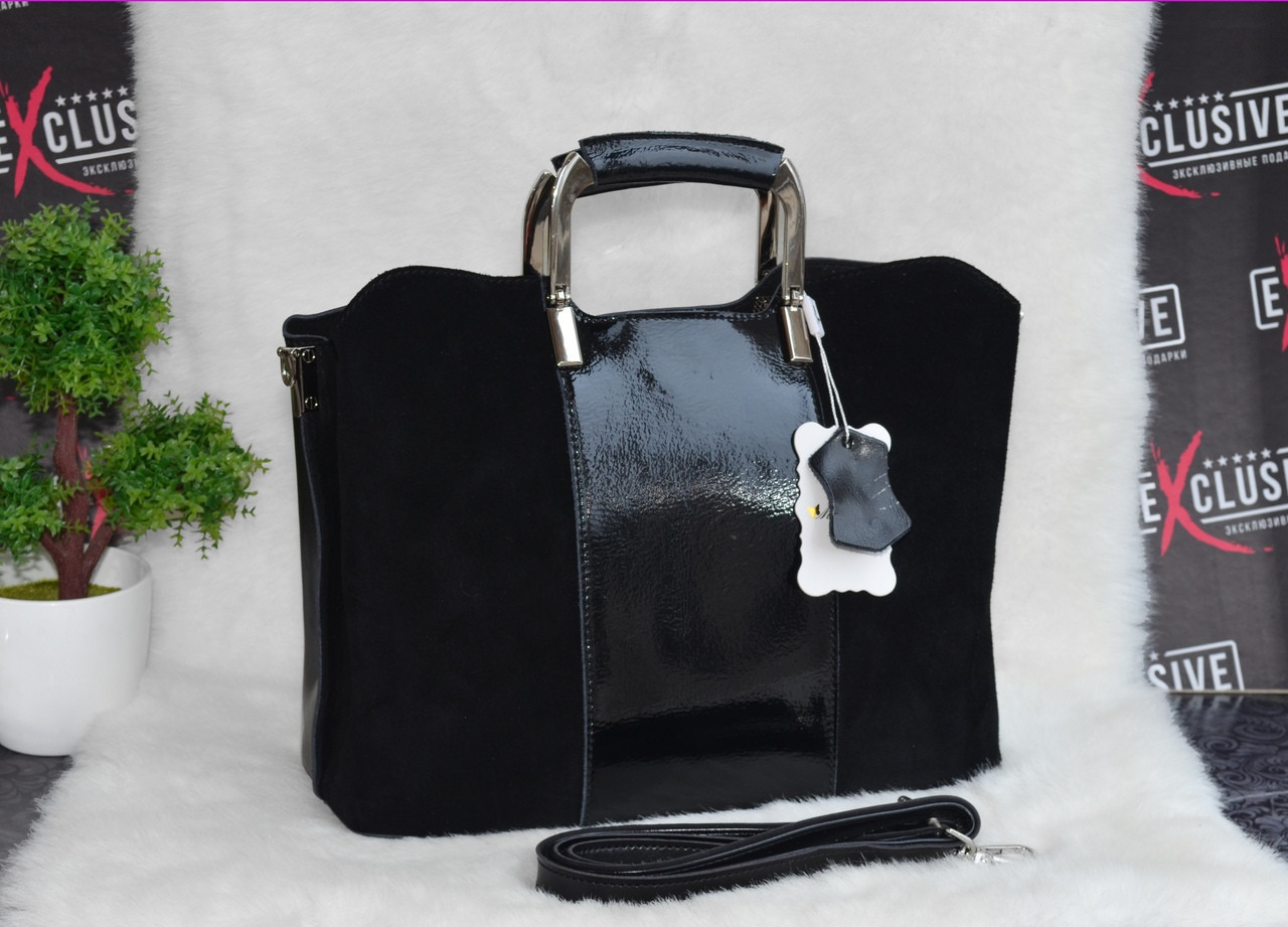 a63c20c1f1c1 Красивая кожаная сумка с замшевым декором черная : продажа, цена в ...