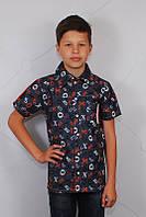 Джинсовая рубашка на мальчика с коротким рукавом