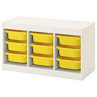 Комод для игрушек IKEA TROFAST 99x44x56 см белый желтый 492.284.69