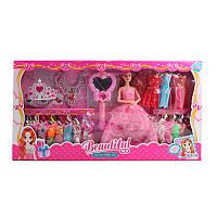 Кукла типа барби 29 см с нарядами и аксессуарами, платья 14 шт, украшения, 620B1