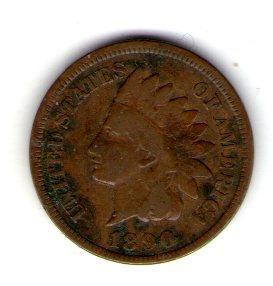 США 1 цент 1890 год индеец  №33