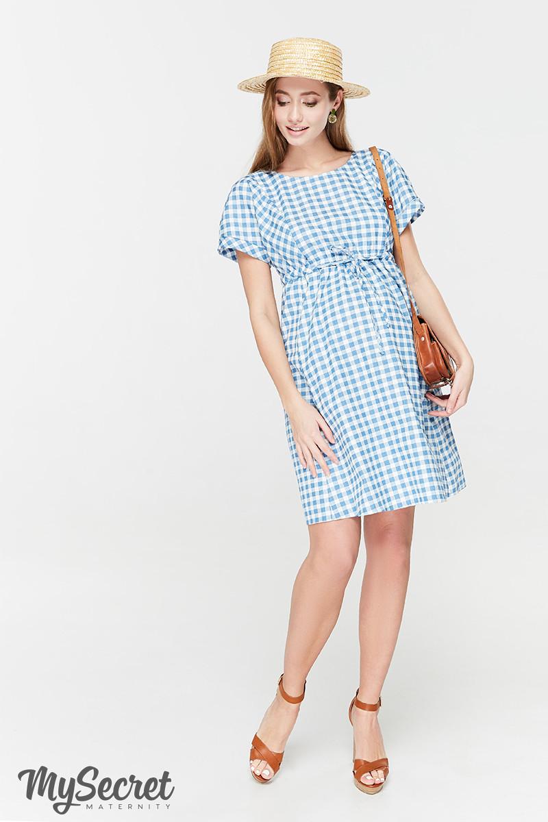 Летнее платье для беременных и кормящих SHERRY, джинсово-голубое в клетку