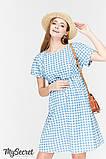 Летнее платье для беременных и кормящих SHERRY, джинсово-голубое в клетку, фото 3