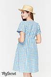 Летнее платье для беременных и кормящих SHERRY, джинсово-голубое в клетку, фото 4
