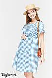 Летнее платье для беременных и кормящих SHERRY, джинсово-голубое в клетку, фото 2