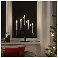 Светодиодный канделябр IKEA STRÅLA 49 см 5 ламп темно-серый белый 804.077.36