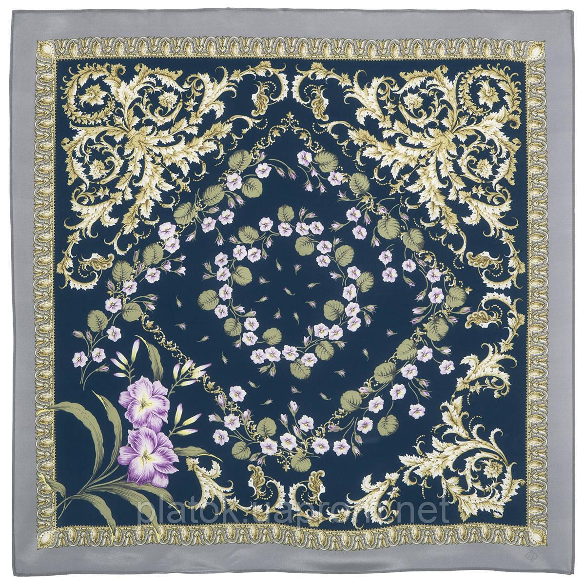 Пармские фиалки 1382-4, павлопосадский платок (крепдешин) шелковый с подрубкой