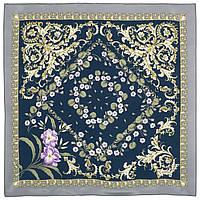 Пармские фиалки 1382-4, павлопосадский платок (крепдешин) шелковый с подрубкой, фото 1