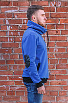 Тёплая толстовка с объёмным воротом-стойка синяя, фото 2
