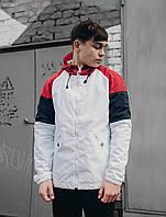 Мужская белая ветровка Staff color block red and white , фото 1