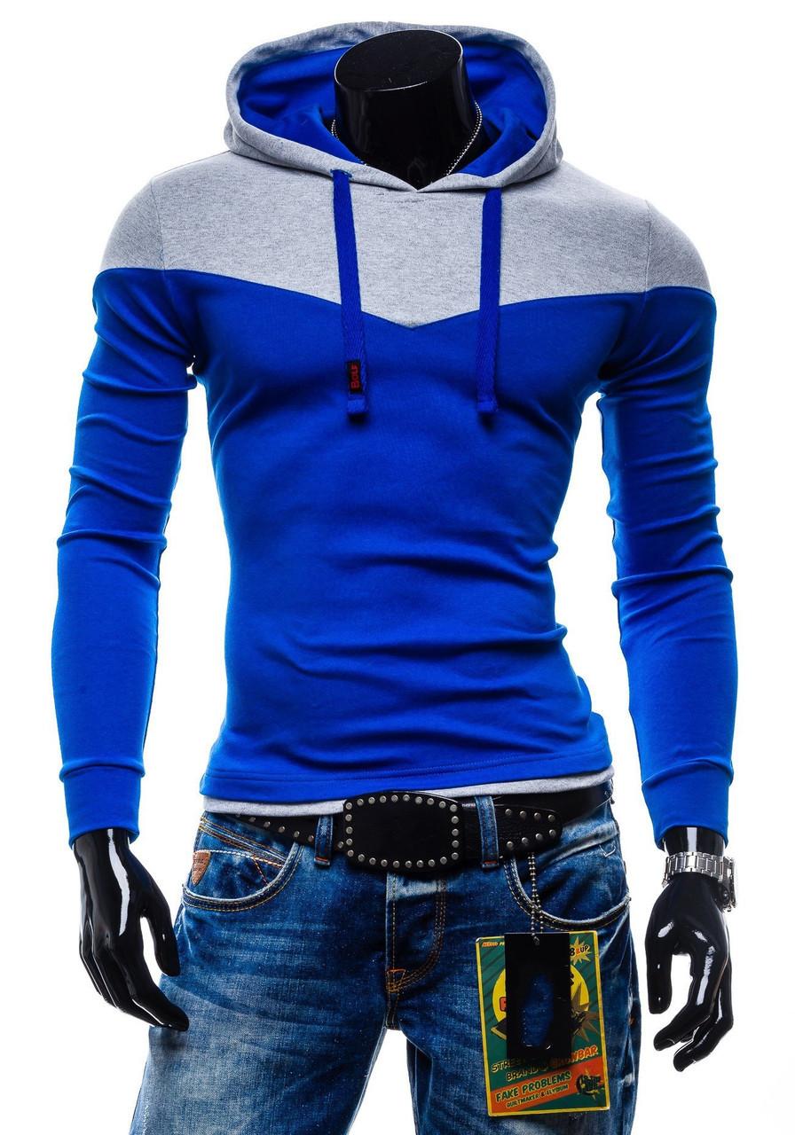 Мужская двухцветнаякофта худи сине-серая