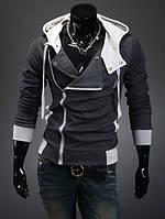Теплая мужская толстовка утеплённая темно-серого цвета