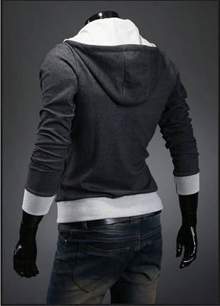 Тепла чоловіча толстовка утеплена темно-сірого кольору, фото 2