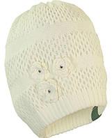 Вязаная шапка для девочки Gloria, белый, M (51-53), фото 1