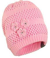 Вязаная шапка для девочки Gloria, розовый, M (51-53), фото 1