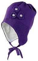 Вязаная шапка для девочки Lara, темно-лилoвий, S (47-49)