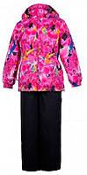 Девчачий комплект (куртка и полукомбинезон) Yonne, Huppa, фуксия с принтом-черный (116), фото 1