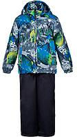 Комплект для мальчиков (куртка и полукомбинезон) Yoko, Huppa, серый с принтом темно-серый, (122), фото 1