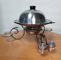 Подставка для подогрева мяса шашлыка Садж с соусницами и стопками 28см