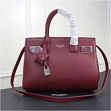 Cумка Classic Sac De Jour Ив Сен Лоран натуральная кожа  32 см, цвет бордовый