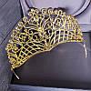 Диадема свадебная КЭРИ высокая тиара золотая корона на голову элит класса украшения для волос, фото 3