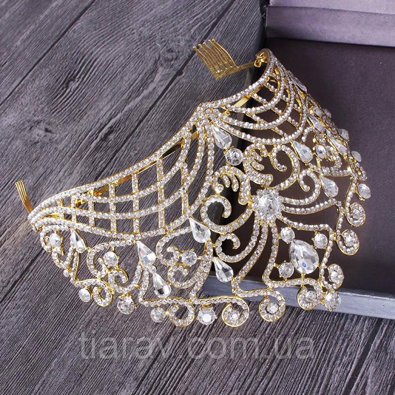 Диадема свадебная КЭРИ высокая тиара золотая корона на голову элит класса украшения для волос