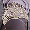 Диадема свадебная КЭРИ высокая тиара золотая корона на голову элит класса украшения для волос, фото 4