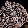 Диадема свадебная КЭРИ высокая тиара золотая корона на голову элит класса украшения для волос, фото 7