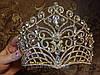 Диадема свадебная КЭРИ высокая тиара золотая корона на голову элит класса украшения для волос, фото 9