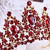 Корона, диадема РОЗАЛИЯ высокая тиара красная, свадебная диадемы украшения, фото 6