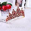 Корона, диадема РОЗАЛИЯ высокая тиара красная, свадебная диадемы украшения, фото 10