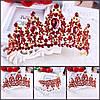 Корона, диадема РОЗАЛИЯ высокая тиара красная, свадебная диадемы украшения, фото 4