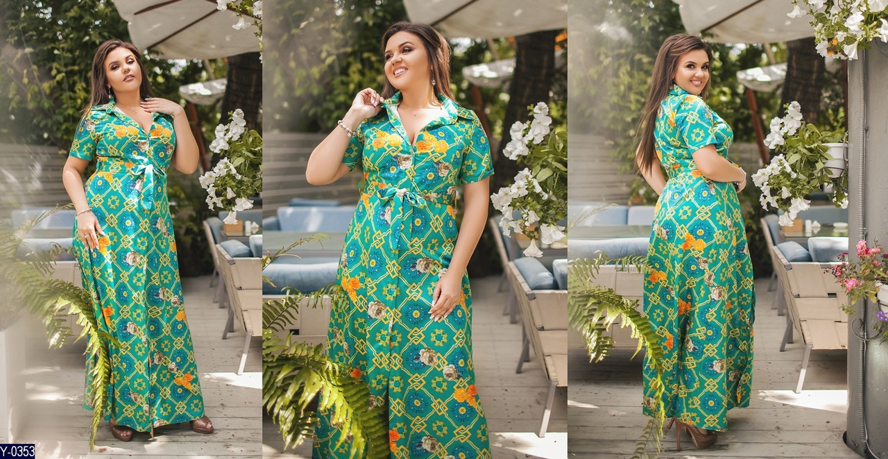 Женское длинное шелковое легкое прогулочное летнее макси платье с коротким рукавом (шёлк) 3 цвета (батал)