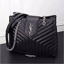 Сумка Large Shopping Ив Сен Лоран шоппер натуральная кожа, цвет черный с серебром
