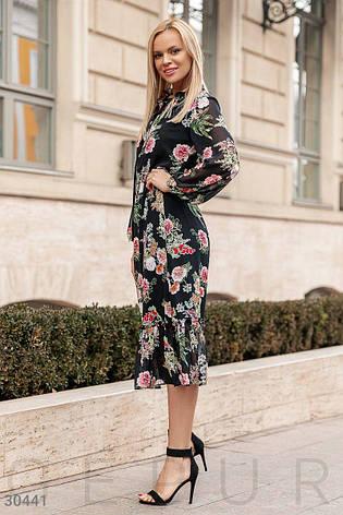 468788c673e Летнее шифоновое платье с рукавами принт цветы черное - купить по ...