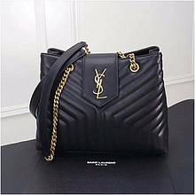 Сумка Large Shopping Ив Сен Лоран шоппер натуральная кожа, цвет черный с золотом